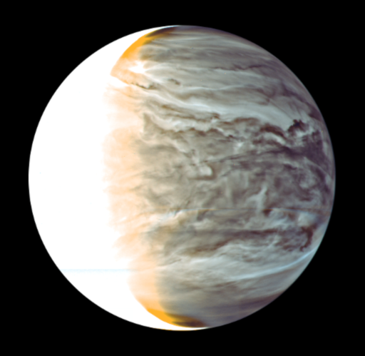 Venus nightside synthesized false color image by IR2