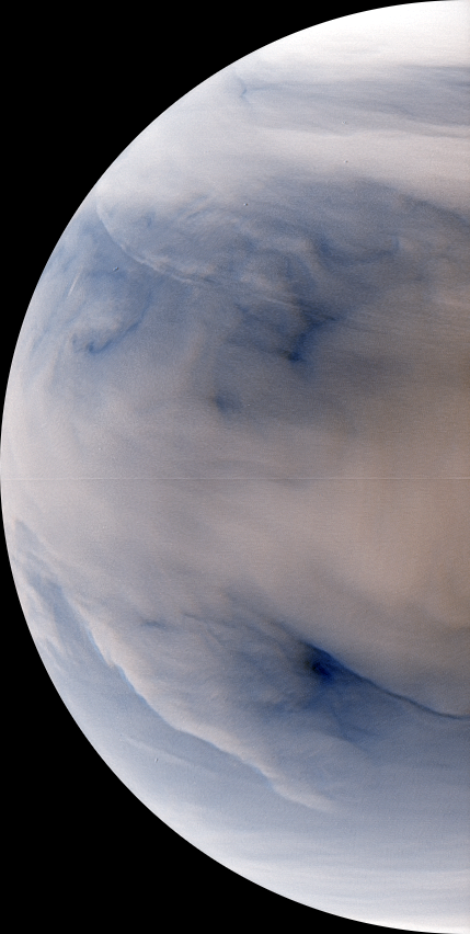 Venus nightside synthesized false color image by IR2 1.735 µm and 2.26 µm (2016 Jul 12)