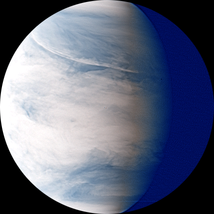 Venus nightside synthesized false color image by IR2 1.735 µm and 2.26 µm (2016 Aug 02)