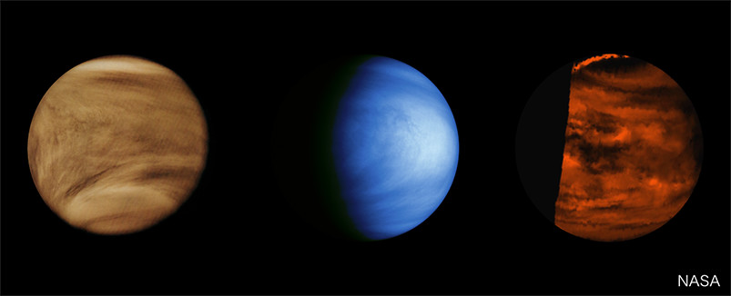 Images of Venus taken in the past missions at different wavelengths.